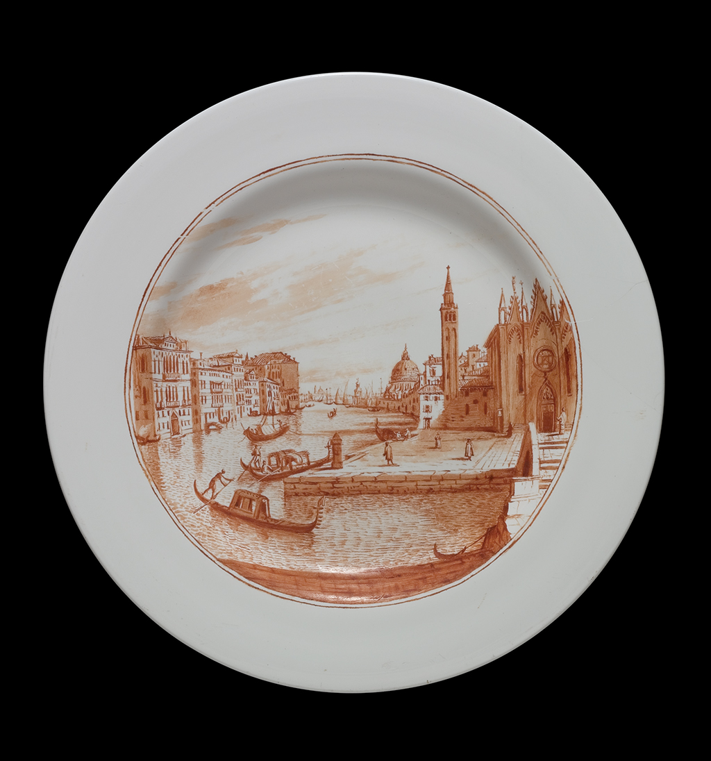 FIG. 34. Plate, opaque white glass enameled with a view of the Church of the Carita, Venice. Probably Venice, Miotti glasshouse, 1741. D. (rim) 22.4 cm. The Corning Museum of Glass (66.3.38).