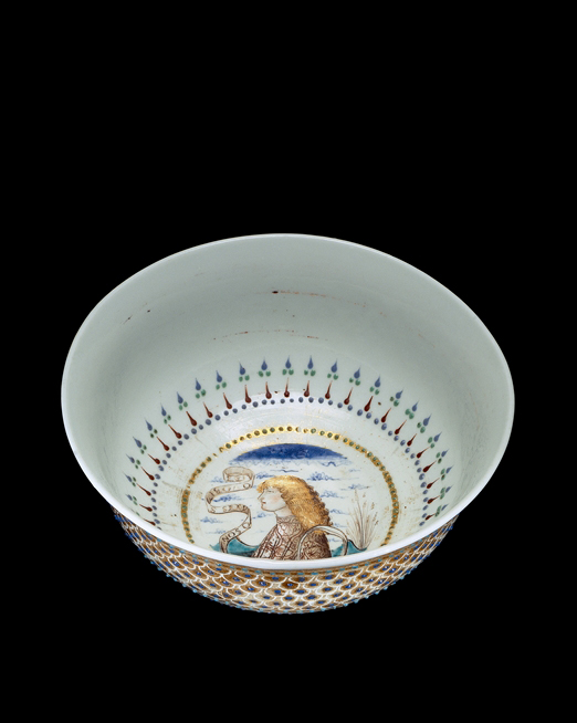 FIG. 43. The Rothschild Bowl, opaque white glass with gold and enamel decoration. Venice, about 1500–1510. H. 5.9 cm, D. (rim) 14.1 cm, (foot) 6.3 cm. The Corning Museum of Glass (76.3.17, purchased with funds from the Museum Endowment Fund).