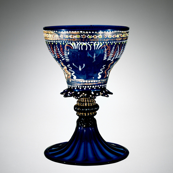 FIG. 45. Armorial goblet, blown, mold-blown, tooled, enameled, gilded. Venice, possibly 1480–1490. H. 19.7 cm, D. (rim) 13.3 cm, (foot) 13.4 cm. The Corning Museum of Glass (79.3.193, bequest of Jerome Strauss).