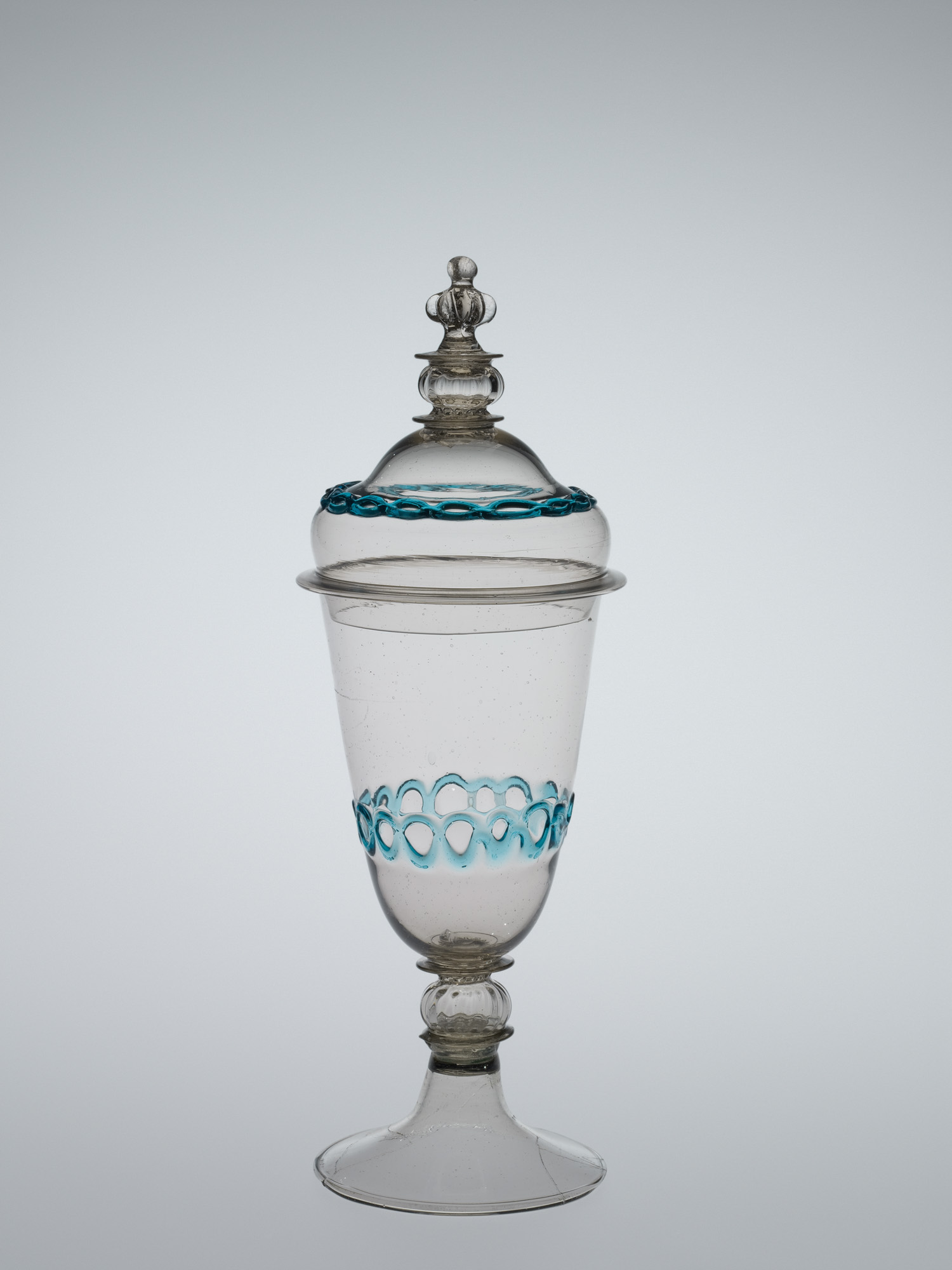 Lidded Goblet with Aqua Chain