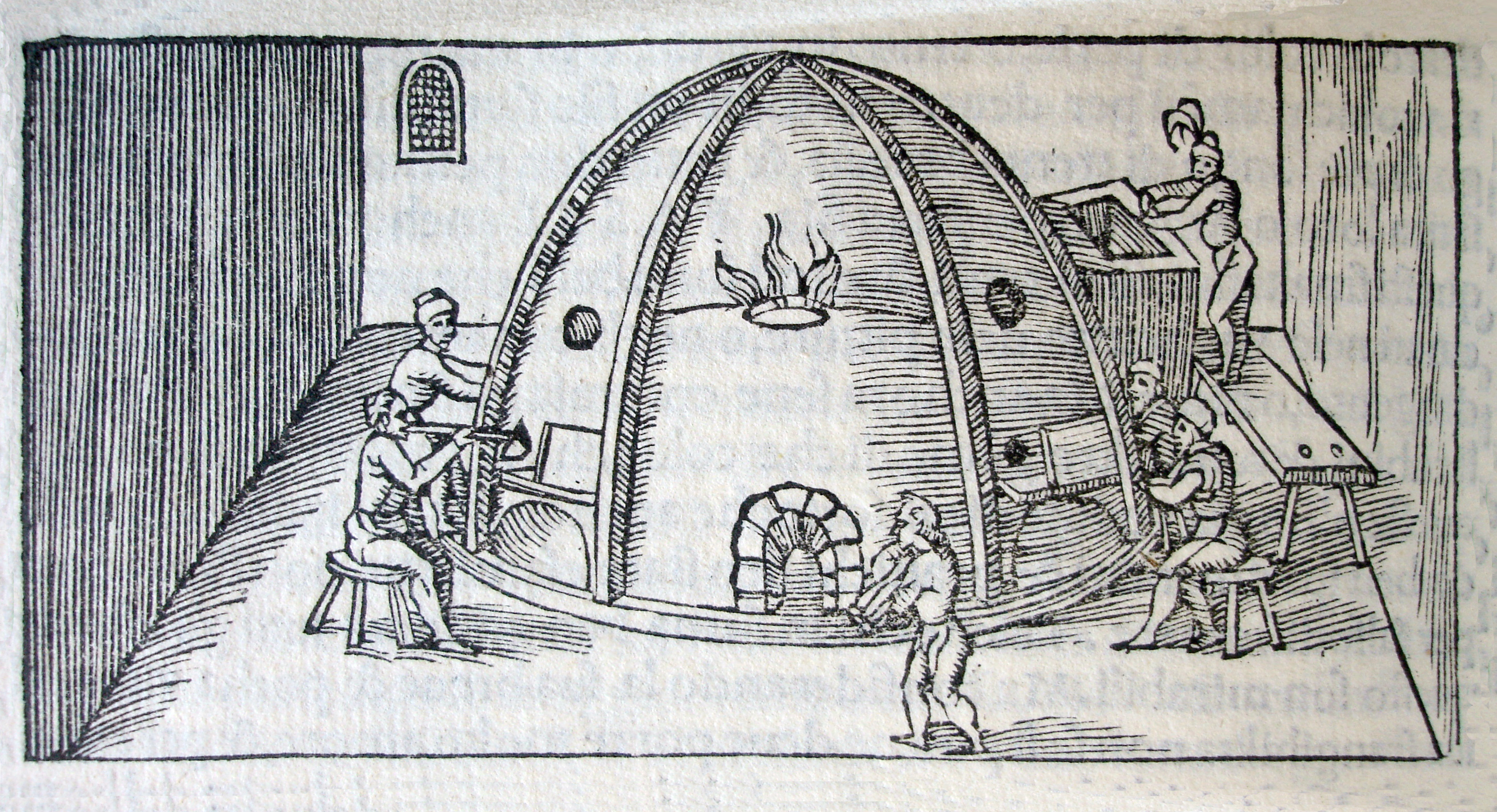 FIG. 37. Glass furnace, showing the upper annealing chamber. Vannoccio Biringuccio (Italian, 1480–1539). In De la pirotechnia, [Venice], 1540. Rakow Research Library, The Corning Museum of Glass (93699). Photo: The Corning Museum of Glass.