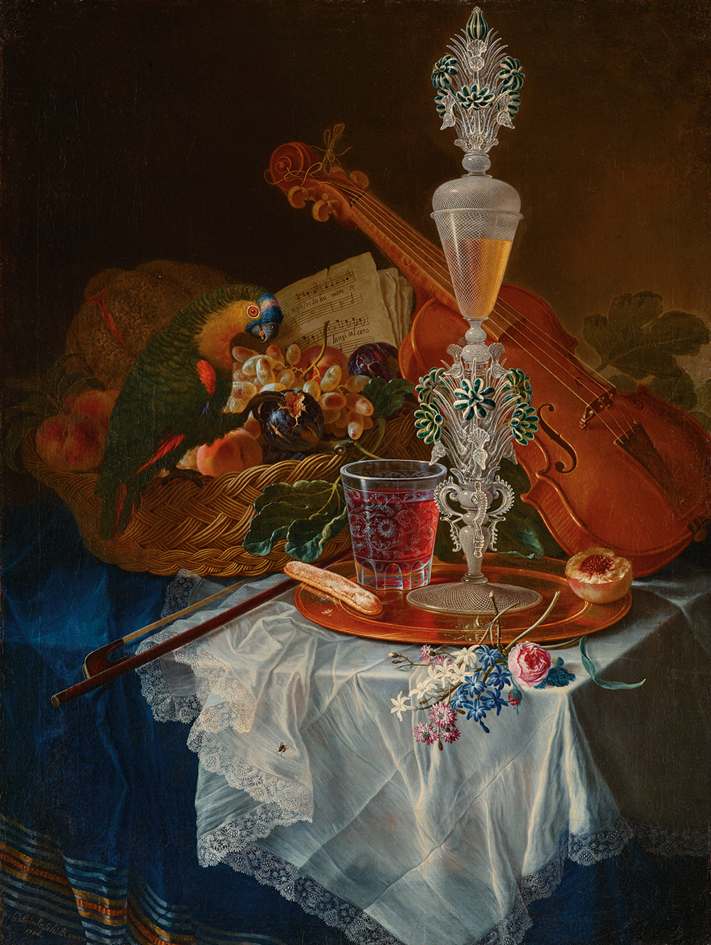 FIG. 30. Still life with crystal goblet, fruit, violin, and parrot. Gabriele Salci (active in the early 18th century), 1710–1720. Palais Liechtenstein, Vaduz. Photo: LIECHTENSTEIN. The Princely Collections, Vaduz-Vienna.