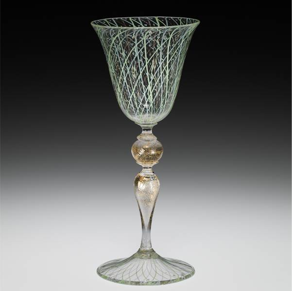 wineglass with colorless, white, green, and gold non-lead glass