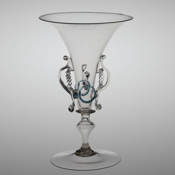 wineglass: trumpet shaped bowl with fire-polished rim and two applied handles
