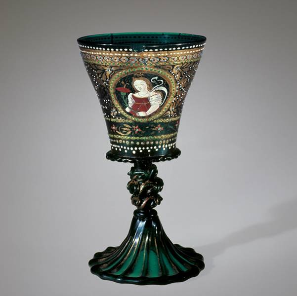 Nuptial Goblet. Translucent dark green