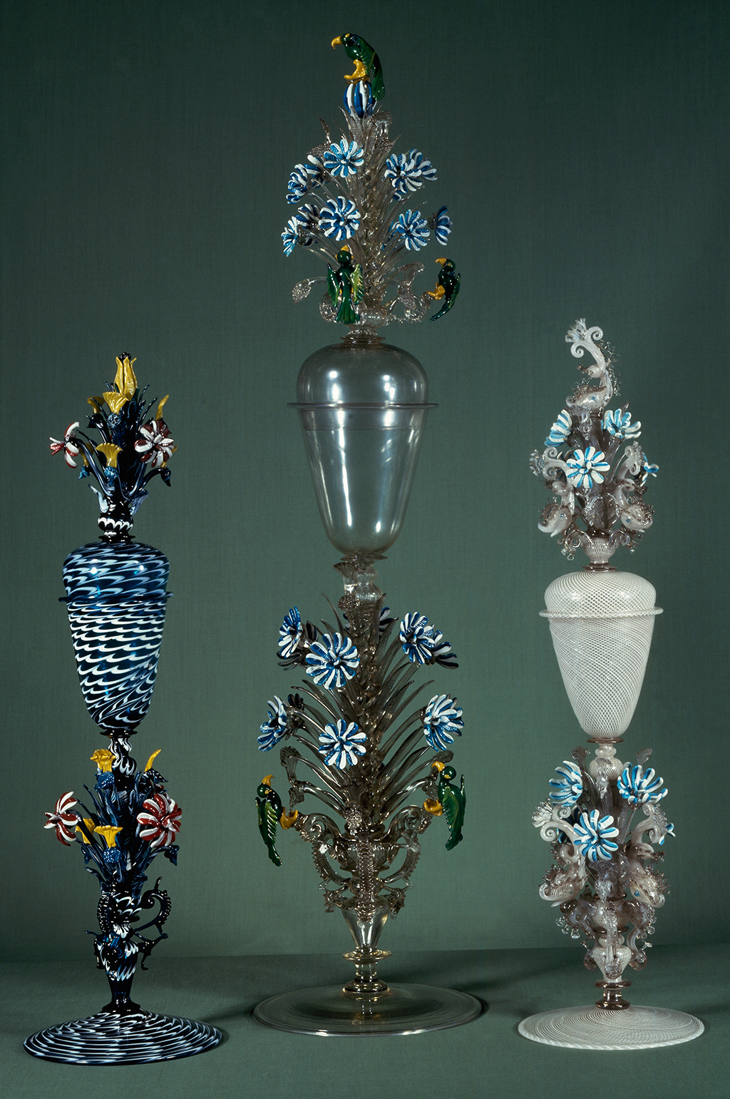FIG. 31. Glass goblets decorated with polychrome enamel. Venice, Muranese glass factory, about 1708. Rosenborg Castle, Copenhagen, Danske Kongers Kronologiske Samling. Photo: De Agostini Picture Library / Bridgeman Images.