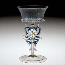 Wineglass with flameworked flowers