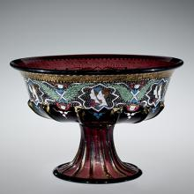 Footed Bowl, glass made about 1500, enameled about 1875-1899. 2000.3.65.