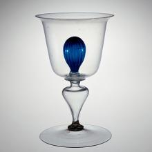 Goblet with Blue Knop, probably Netherlands, 1500-1699. Bequest of Jerome Strauss. 79.3.1128.