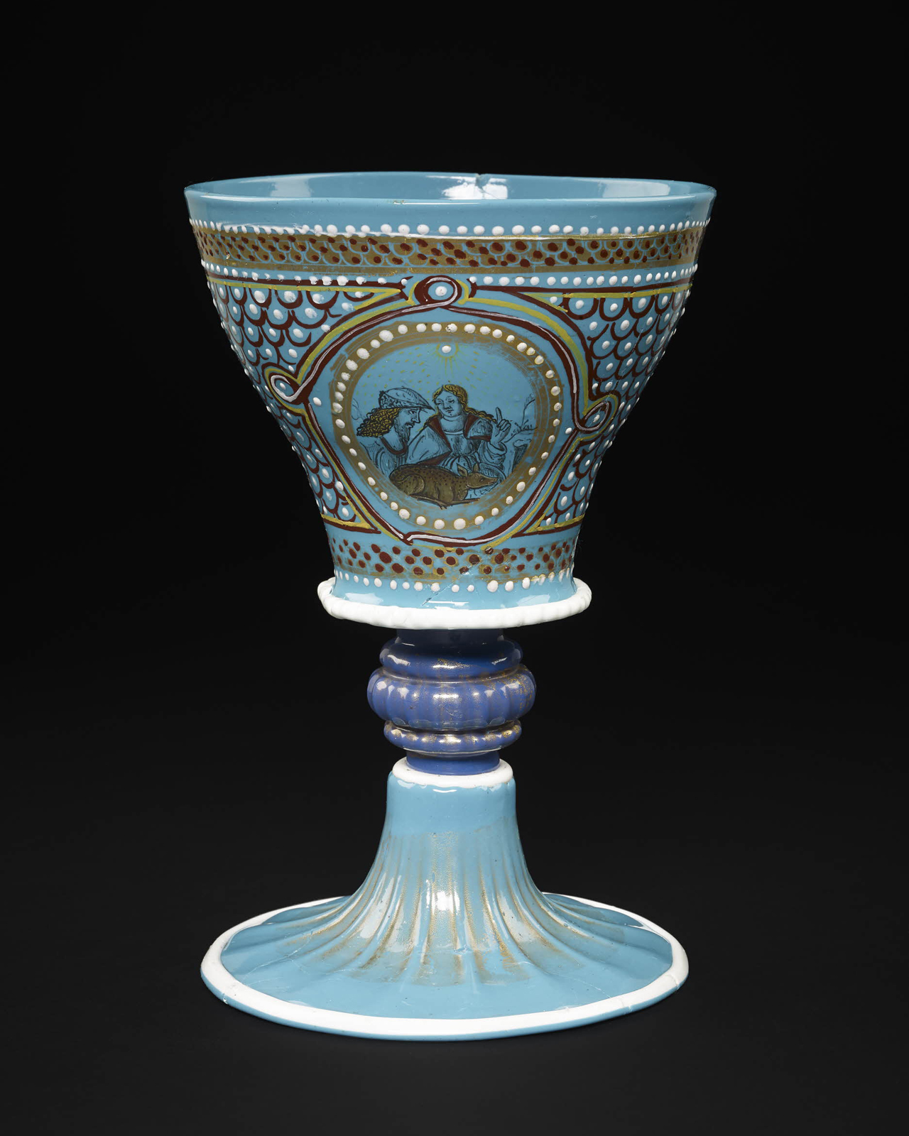 FIG. 44. The Turquoise Goblet. Venice, about 1500. H. 18.9 cm. The British Museum, London (WB.55). Photo: © The Trustees of The British Museum (WB.55AN1537486001).